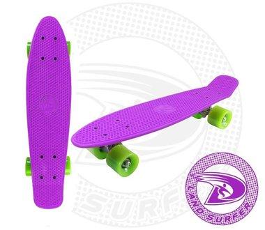 Land Surfer fish skateboard paars met groene wielen