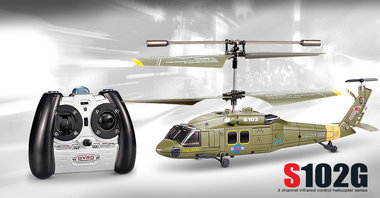 SYMA S102G mini Apache 3 Channel Military met Gyro