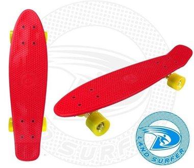Land Surfer fish skateboard rood met gele wielen