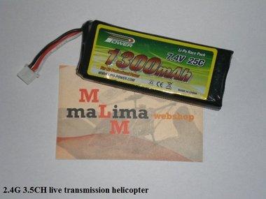 live transmission Thunderbird lipo Accu pack 7,4V 1300 mAh