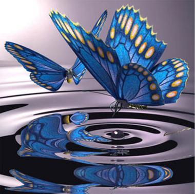 Diamond Painting blauwe vlinder boven het water 30x30cm
