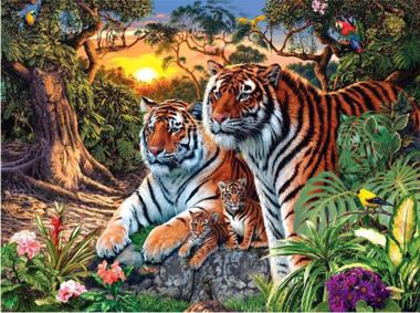 Diamond Painting tiger familie 30x40cm