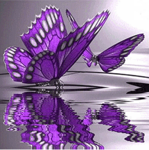 Diamond Painting paarse vlinder boven het water 30x30cm