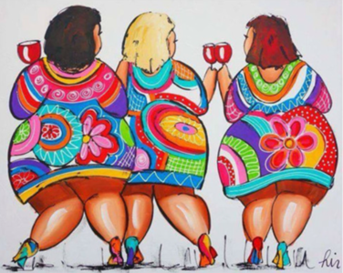Diamond Painting drie vrouwen gezellig op een rij met glaswijn 30x25cm