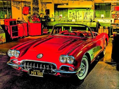 Diamond Painting Rode Retro auto 30x25cm
