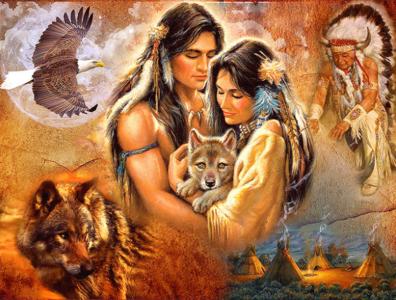 Diamond Painting Indianen man en vrouw 30x25cm