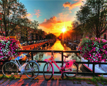 Diamond Painting Amsterdam brug zonsondergang 30x25c